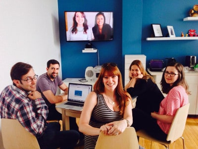 Unbounce's Montreal team strategizing with head office colleagues in Vancouver.