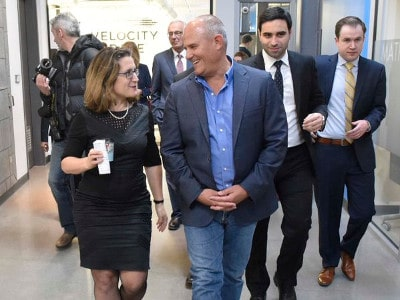 Federal minister of international trade Chrystia Freedland and Communitech Hub's Ian Klugman