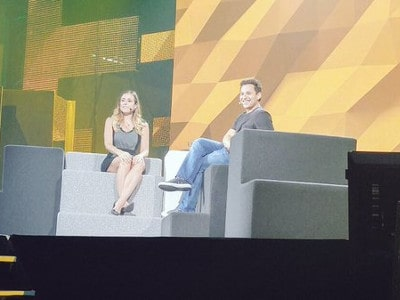Amber MacArthur and Harley Finkelstein on stage at C2MTL